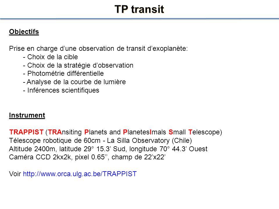 Objectifs Prise en charge dune observation de transit dexoplanète: - Choix de la cible - Choix de la stratégie dobservation - Photométrie différentiel
