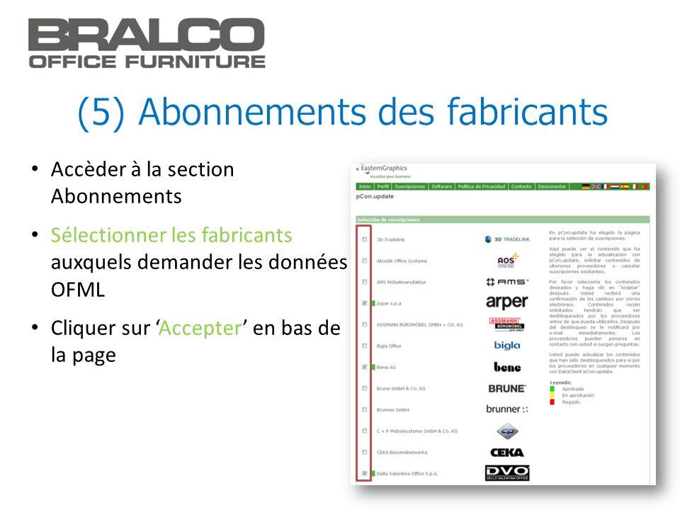 Accèder à la section Abonnements Sélectionner les fabricants auxquels demander les données OFML Cliquer sur Accepter en bas de la page