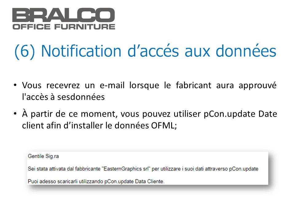Vous recevrez un e-mail lorsque le fabricant aura approuvé l'accès à sesdonnées À partir de ce moment, vous pouvez utiliser pCon.update Date client af