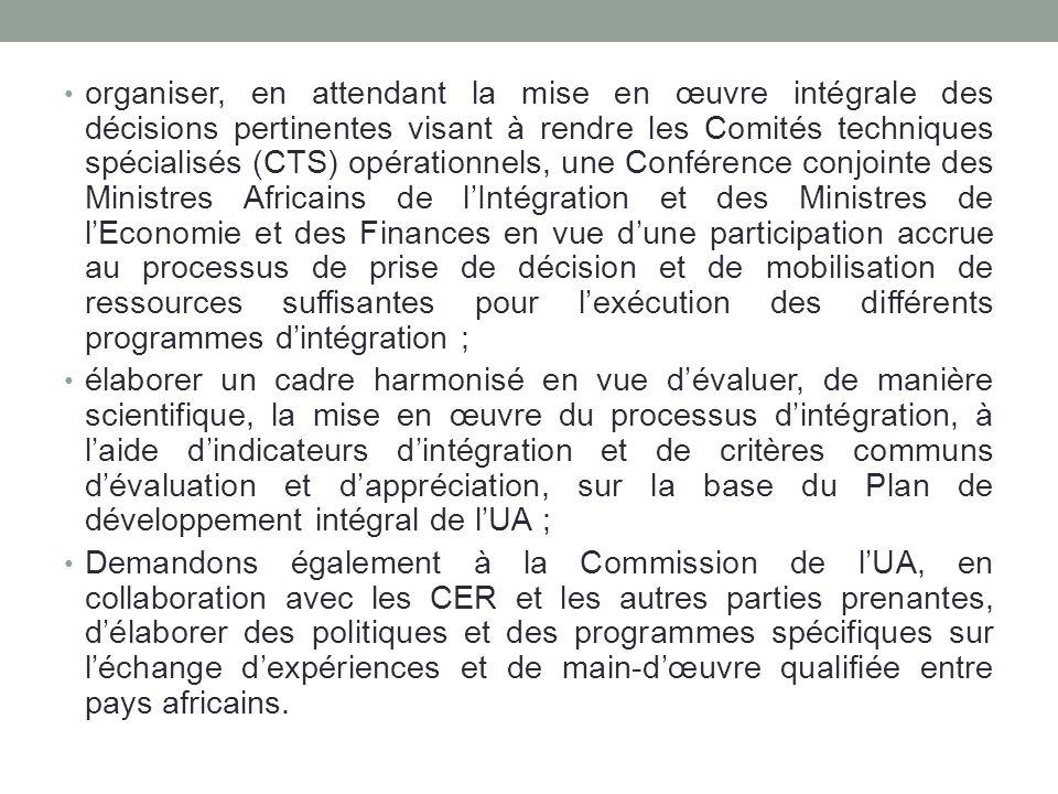 organiser, en attendant la mise en œuvre intégrale des décisions pertinentes visant à rendre les Comités techniques spécialisés (CTS) opérationnels, u
