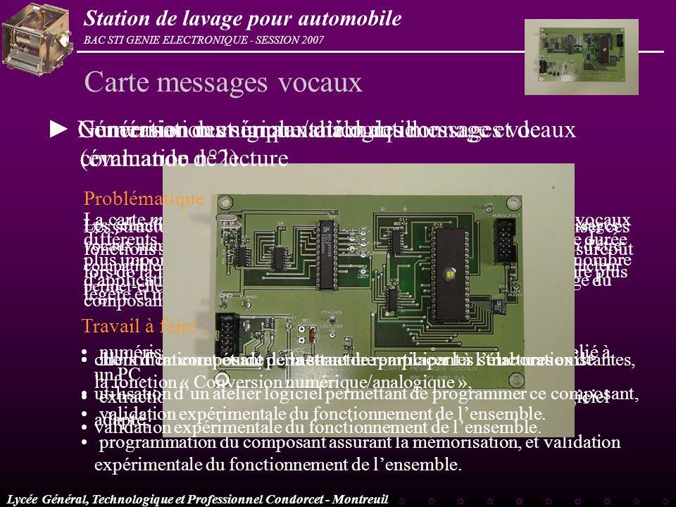 Lycée Général, Technologique et Professionnel Condorcet - Montreuil BAC STI GENIE ELECTRONIQUE - SESSION 2007 Station de lavage pour automobile Les st