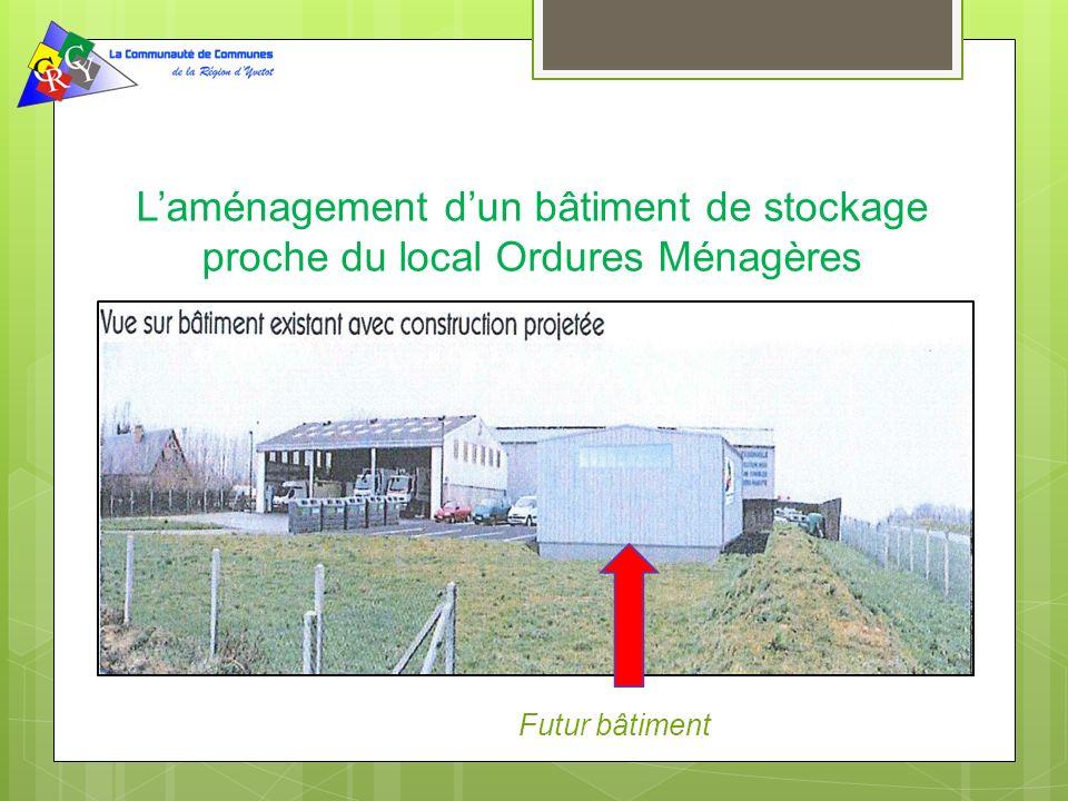 Laménagement dun bâtiment de stockage proche du local Ordures Ménagères Futur bâtiment