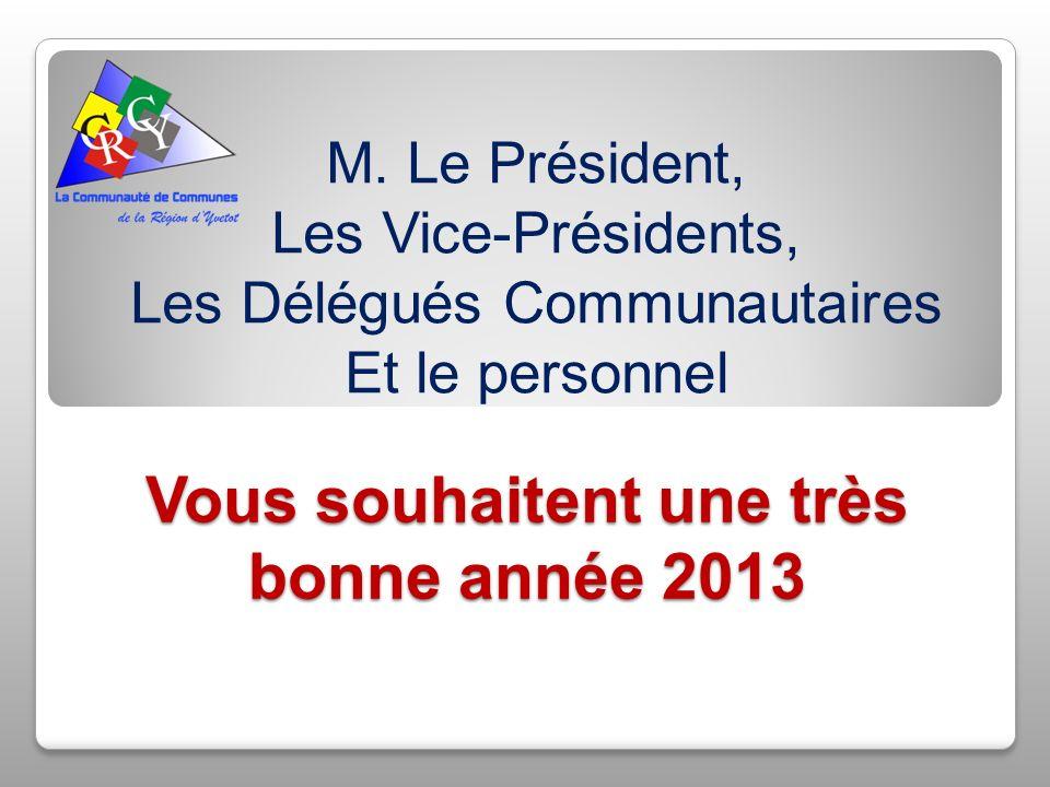 Vous souhaitent une très bonne année 2013 M. Le Président, Les Vice-Présidents, Les Délégués Communautaires Et le personnel