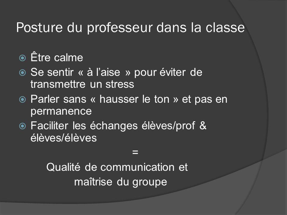 Posture du professeur dans la classe Être calme Se sentir « à laise » pour éviter de transmettre un stress Parler sans « hausser le ton » et pas en pe