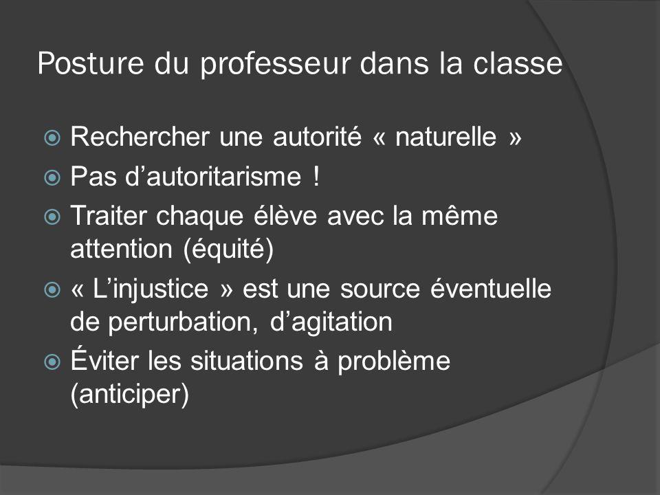 Posture du professeur dans la classe Rechercher une autorité « naturelle » Pas dautoritarisme ! Traiter chaque élève avec la même attention (équité) «