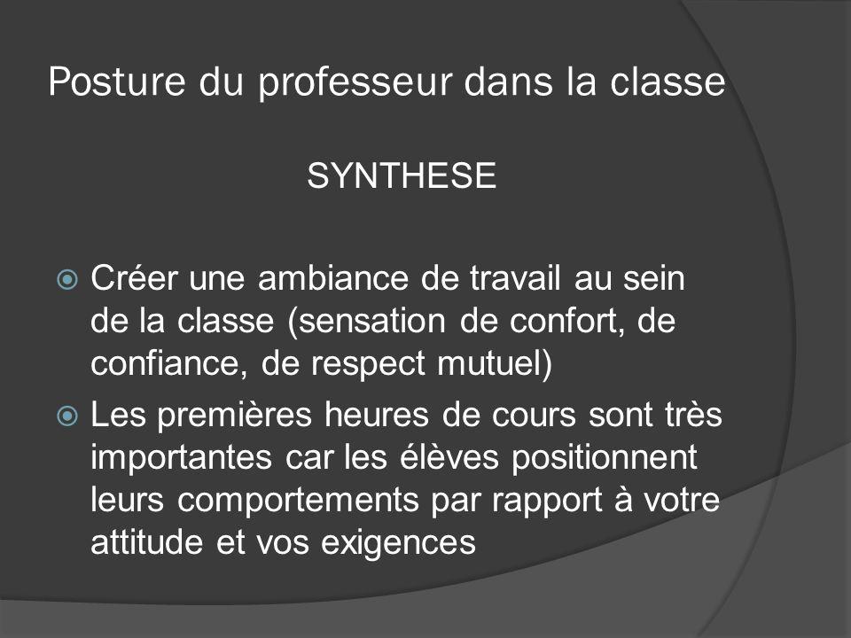 Posture du professeur dans la classe SYNTHESE Créer une ambiance de travail au sein de la classe (sensation de confort, de confiance, de respect mutue