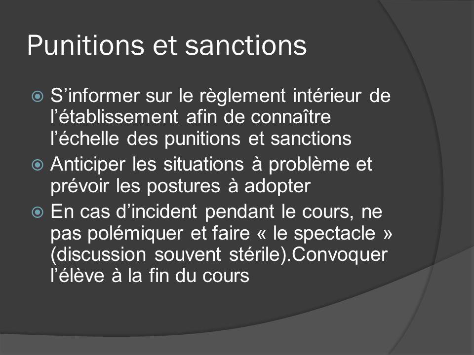 Punitions et sanctions Sinformer sur le règlement intérieur de létablissement afin de connaître léchelle des punitions et sanctions Anticiper les situ