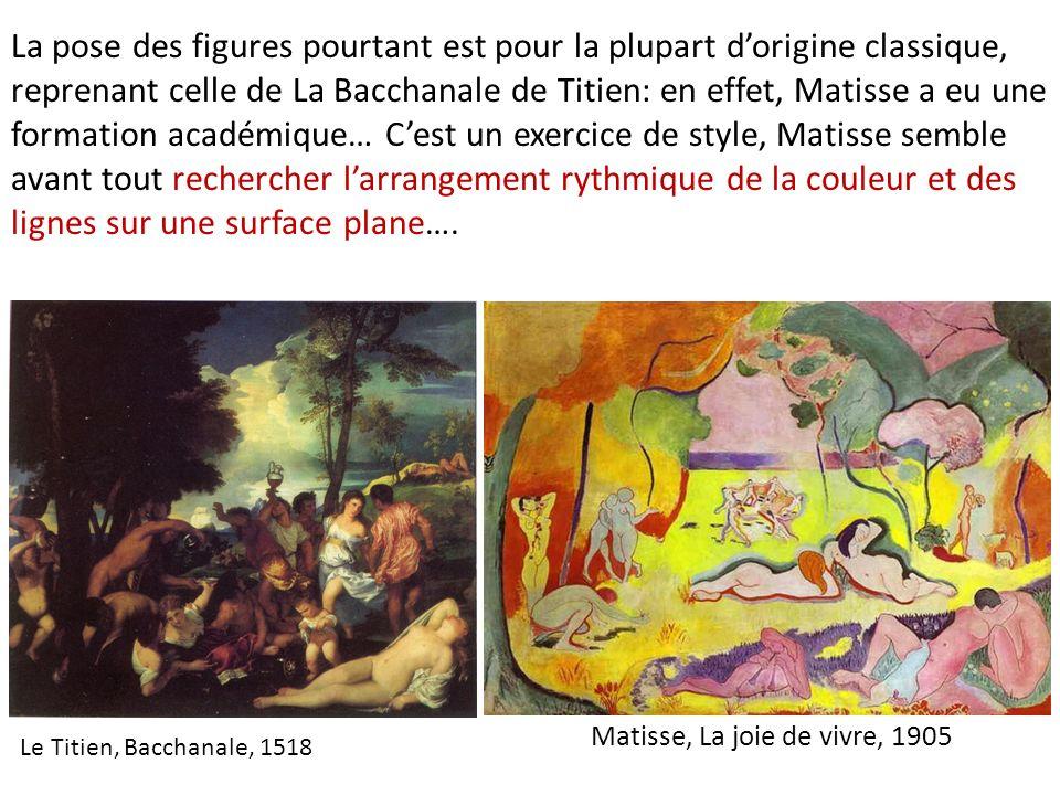 Le Titien, Bacchanale, 1518 Matisse, La joie de vivre, 1905 La pose des figures pourtant est pour la plupart dorigine classique, reprenant celle de La