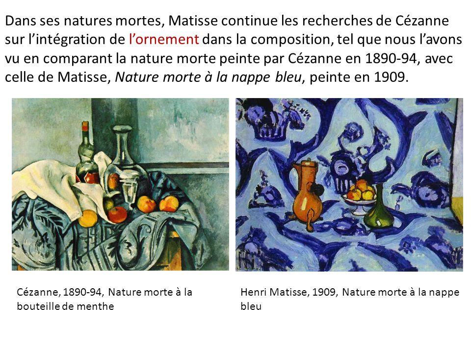 Dans ses natures mortes, Matisse continue les recherches de Cézanne sur lintégration de lornement dans la composition, tel que nous lavons vu en compa