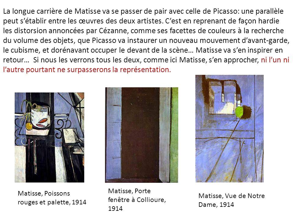 La longue carrière de Matisse va se passer de pair avec celle de Picasso: une parallèle peut sétablir entre les œuvres des deux artistes. Cest en repr