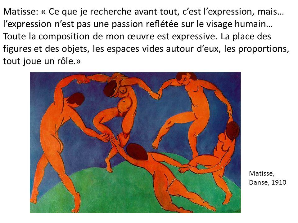 Matisse: « Ce que je recherche avant tout, cest lexpression, mais… lexpression nest pas une passion reflétée sur le visage humain… Toute la compositio