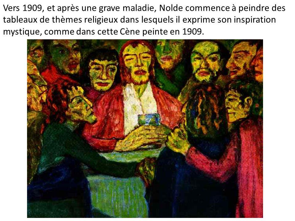 Vers 1909, et après une grave maladie, Nolde commence à peindre des tableaux de thèmes religieux dans lesquels il exprime son inspiration mystique, co