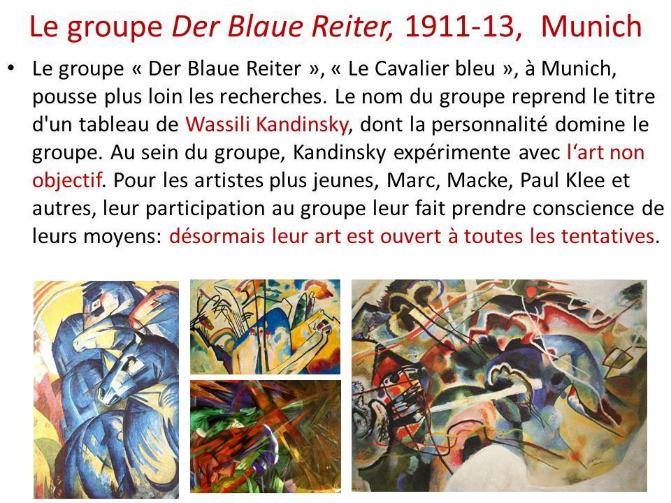 Le groupe Der Blaue Reiter, 1911-13, Munich Le groupe « Der Blaue Reiter », « Le Cavalier bleu », à Munich, pousse plus loin les recherches. Le nom du