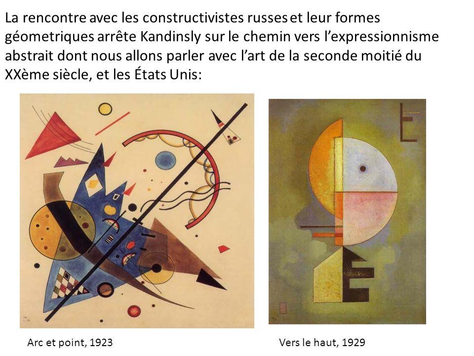 La rencontre avec les constructivistes russes et leur formes géometriques arrête Kandinsly sur le chemin vers lexpressionnisme abstrait dont nous allo
