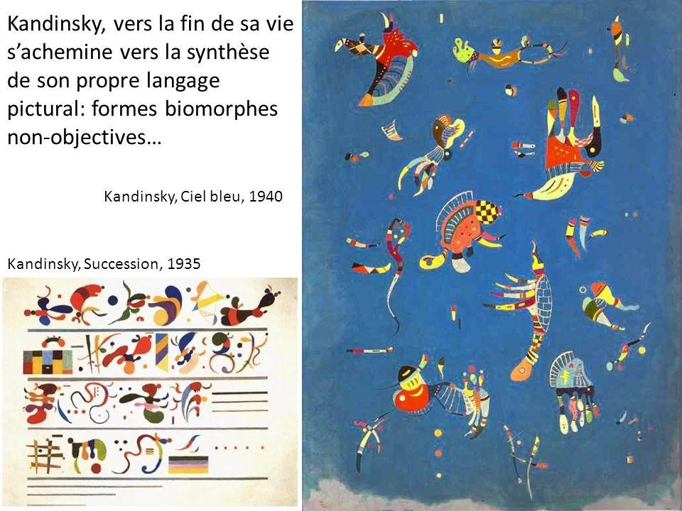 Kandinsky, vers la fin de sa vie sachemine vers la synthèse de son propre langage pictural: formes biomorphes non-objectives… Kandinsky, Succession, 1
