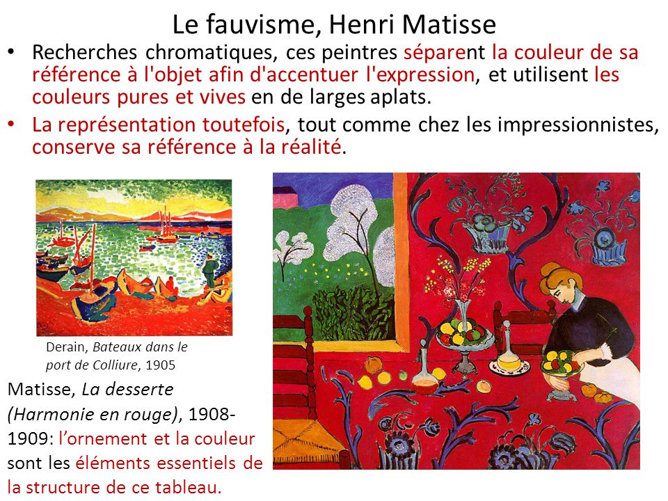 Le fauvisme, Henri Matisse Recherches chromatiques, ces peintres séparent la couleur de sa référence à l'objet afin d'accentuer l'expression, et utili