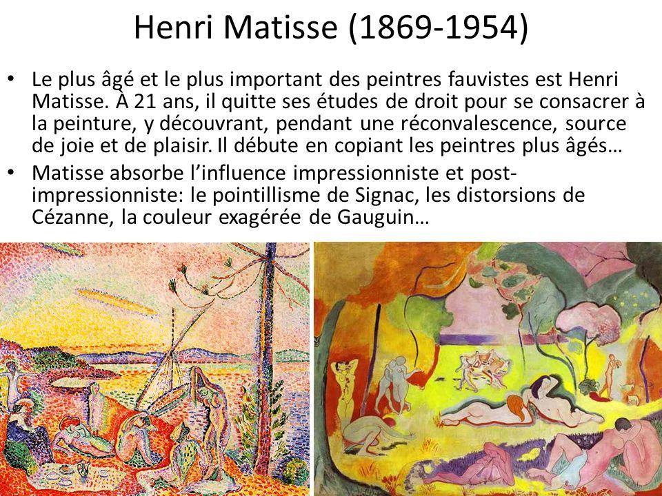 Matisse absorbe linfluence impressionniste et post-impressionniste: le pointillisme de Signac, les distorsions de Cézanne, la couleur exagérée de Gauguin, puis va plus loin: dans ces deux portraits de sa femme pourtant, les couleurs sémancipent du rendu réaliste… Madame Matisse au chapeau, 1905 Madame Matisse à la raie verte, 1905