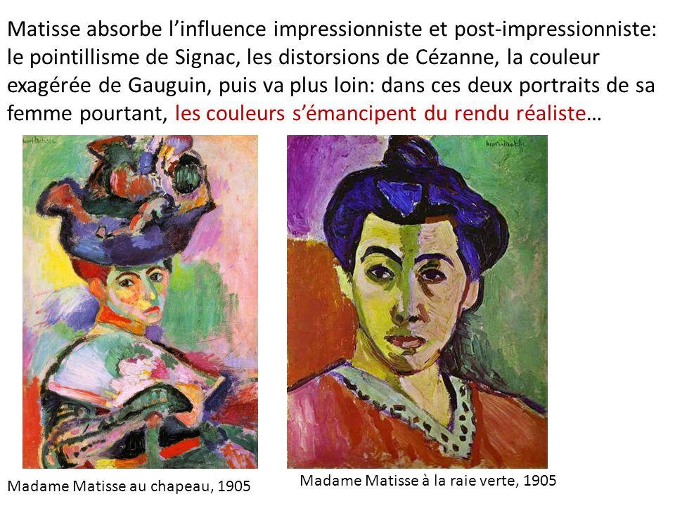 Matisse absorbe linfluence impressionniste et post-impressionniste: le pointillisme de Signac, les distorsions de Cézanne, la couleur exagérée de Gaug