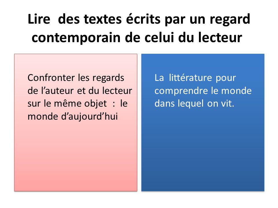Lire des textes écrits par un regard contemporain de celui du lecteur Confronter les regards de lauteur et du lecteur sur le même objet : le monde dau