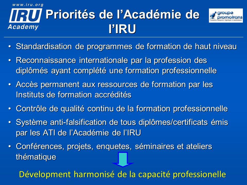 Priorités de lAcadémie de lIRU Standardisation de programmes de formation de haut niveauStandardisation de programmes de formation de haut niveau Reco