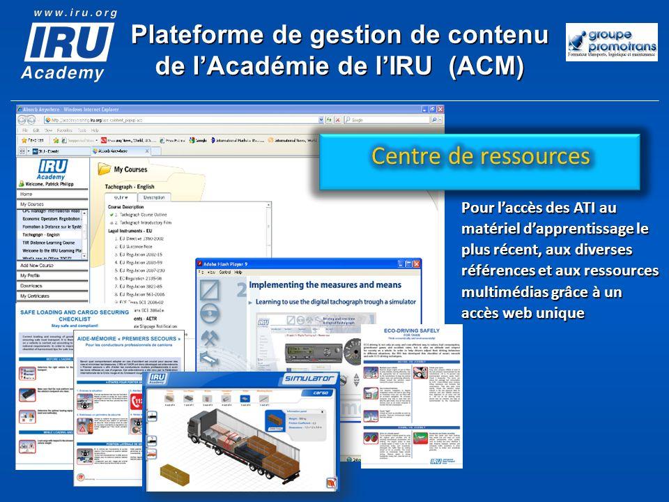 Plateforme de gestion de contenu de lAcadémie de lIRU (ACM) Pour laccès des ATI au matériel dapprentissage le plus récent, aux diverses références et