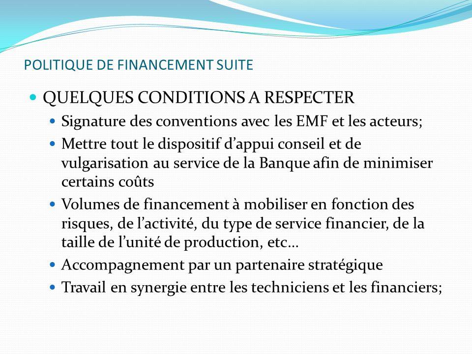POLITIQUE DE FINANCEMENT SUITE QUELQUES CONDITIONS A RESPECTER Signature des conventions avec les EMF et les acteurs; Mettre tout le dispositif dappui