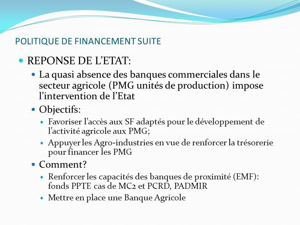 POLITIQUE DE FINANCEMENT SUITE REPONSE DE LETAT: La quasi absence des banques commerciales dans le secteur agricole (PMG unités de production) impose