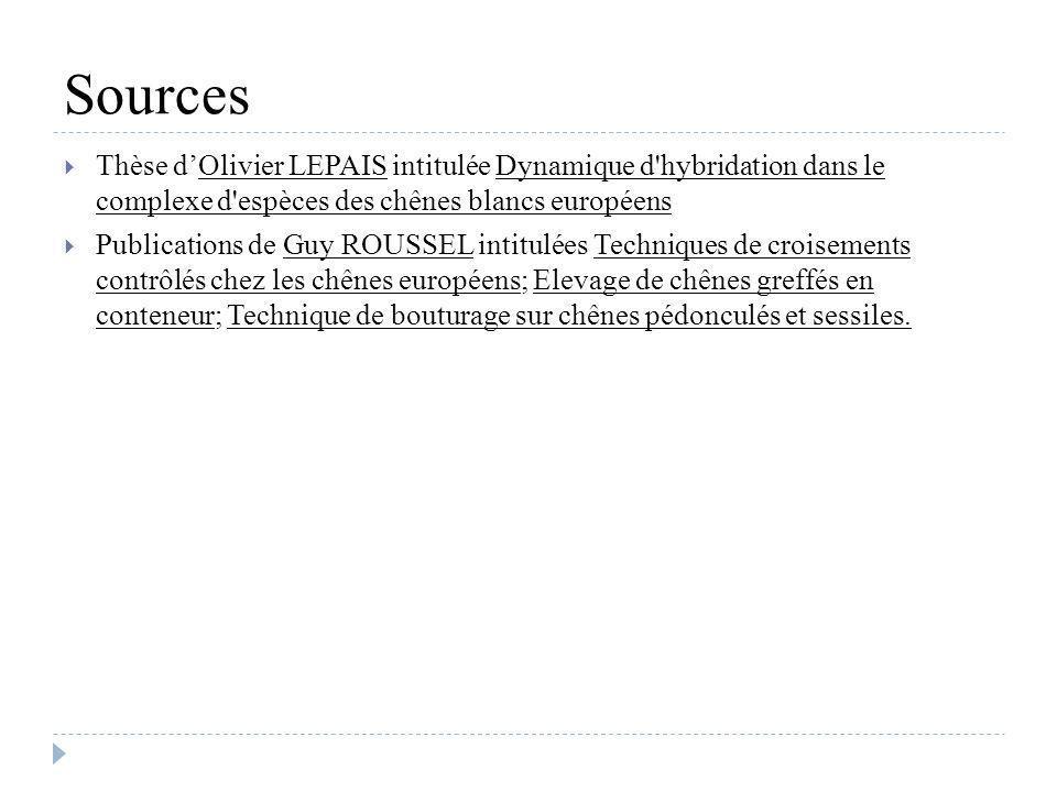 Sources Thèse dOlivier LEPAIS intitulée Dynamique d'hybridation dans le complexe d'espèces des chênes blancs européens Publications de Guy ROUSSEL int