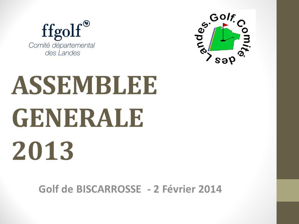 Inscrits Ecoles de golf par club20132012Ecart Biscarrosse2641-15 Cité Verte (Hagetmau)1114-3 Greens dEugénie (Tursan)1011 Hossegor10383+20 Mimizan3313+20 Moliets3340-7 Mont de Marsan150160-10 Pinsolle3034-4 Seignosse12 U.S.Dax2116+5 STATISTIQUES suite …..