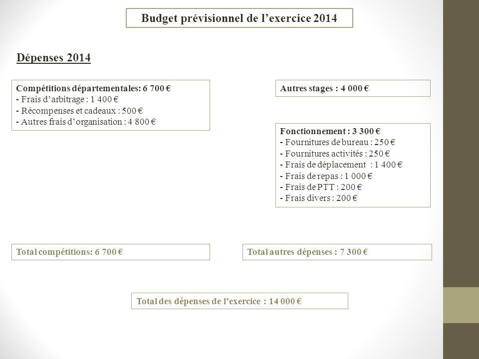 Budget prévisionnel de lexercice 2014 Dépenses 2014 Compétitions départementales: 6 700 - Frais darbitrage : 1 400 - Récompenses et cadeaux : 500 - Au