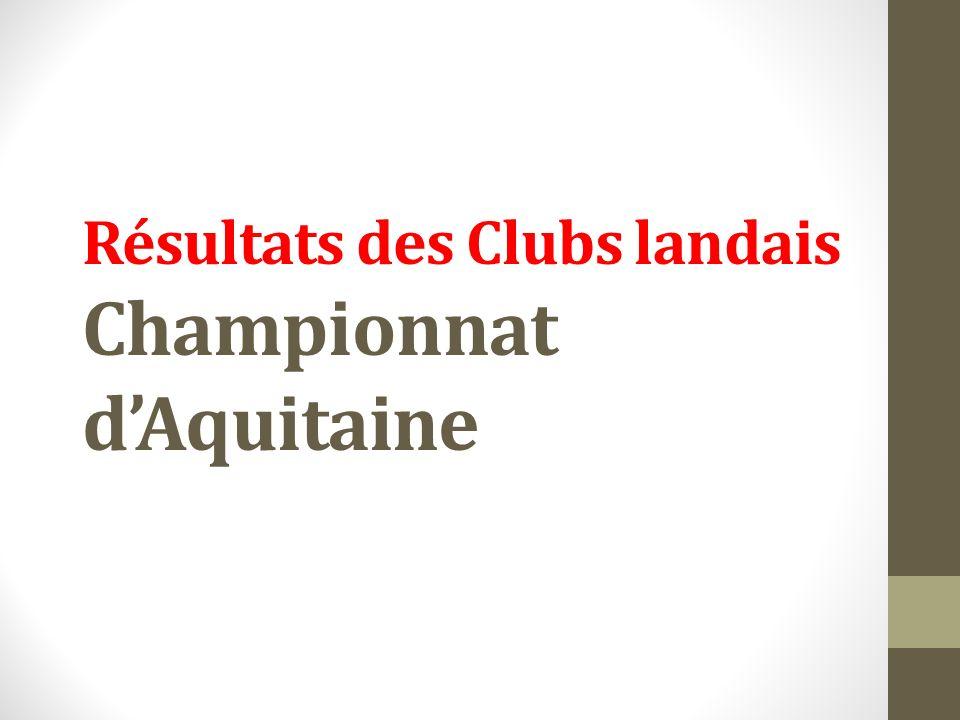 Résultats des Clubs landais Championnat dAquitaine