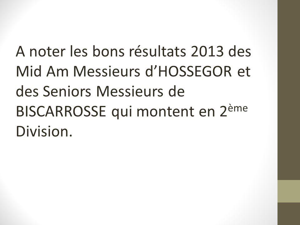 A noter les bons résultats 2013 des Mid Am Messieurs dHOSSEGOR et des Seniors Messieurs de BISCARROSSE qui montent en 2 ème Division.