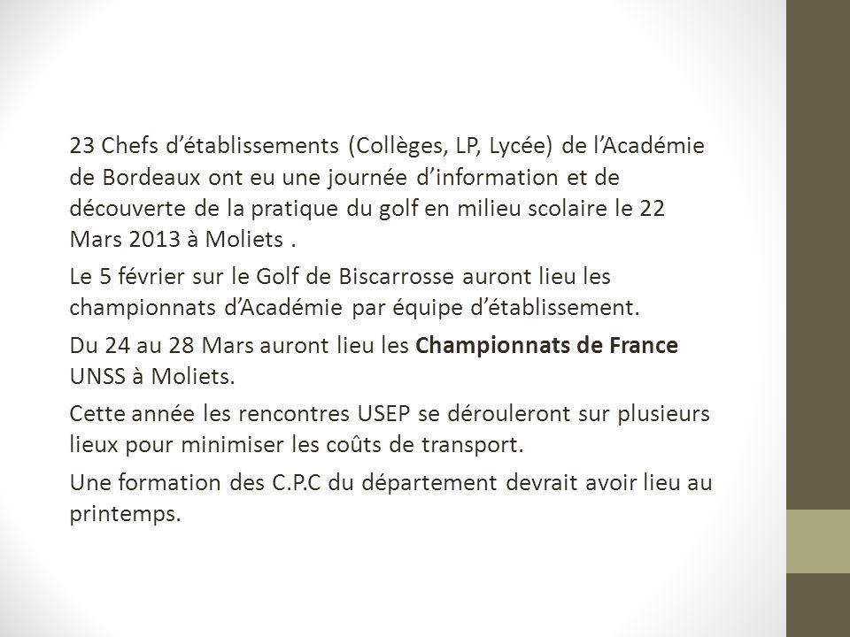 23 Chefs détablissements (Collèges, LP, Lycée) de lAcadémie de Bordeaux ont eu une journée dinformation et de découverte de la pratique du golf en milieu scolaire le 22 Mars 2013 à Moliets.