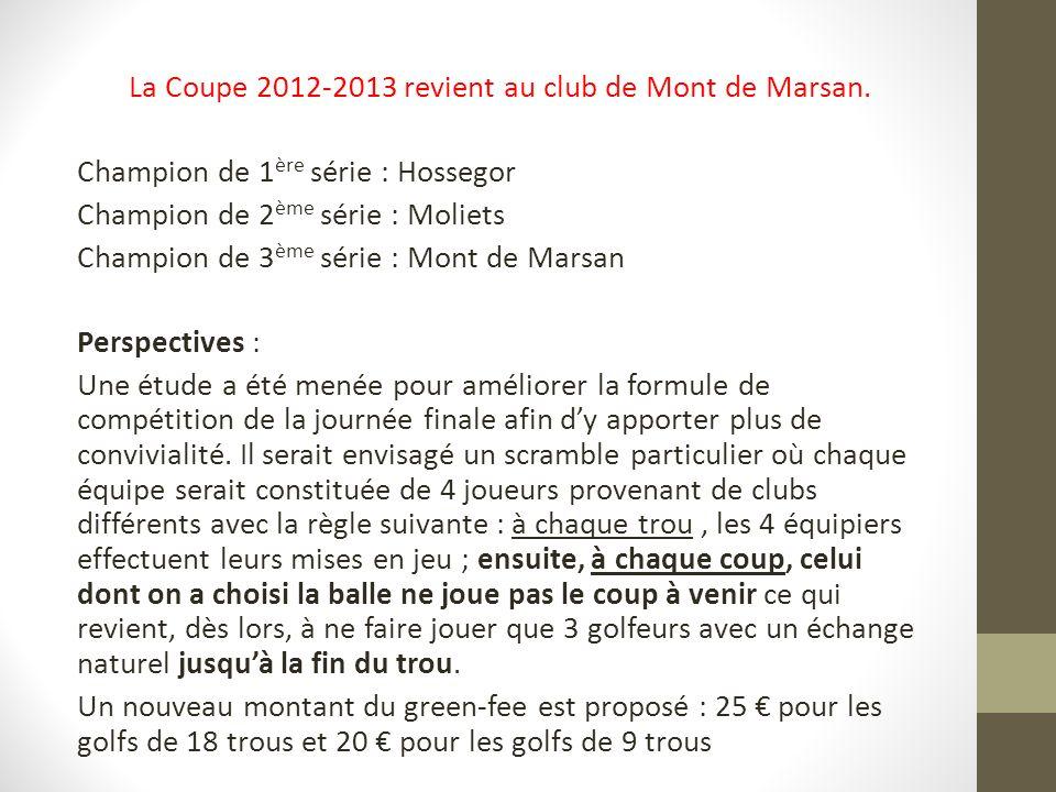La Coupe 2012-2013 revient au club de Mont de Marsan. Champion de 1 ère série : Hossegor Champion de 2 ème série : Moliets Champion de 3 ème série : M