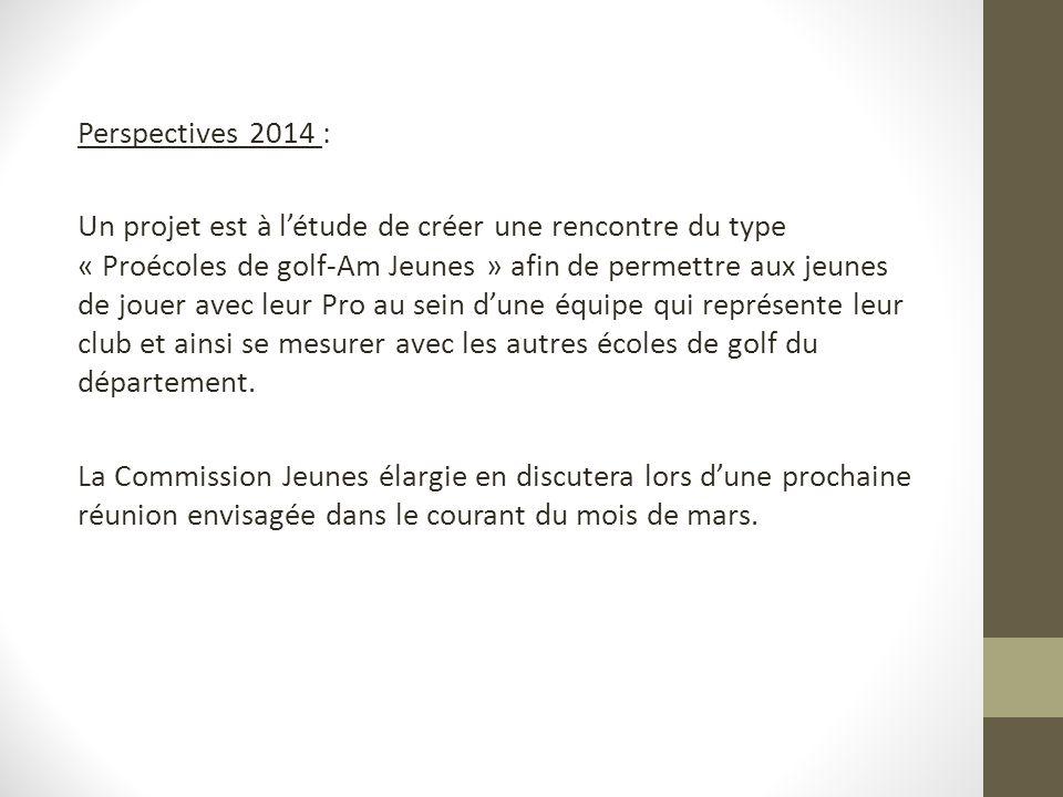 Perspectives 2014 : Un projet est à létude de créer une rencontre du type « Proécoles de golf-Am Jeunes » afin de permettre aux jeunes de jouer avec leur Pro au sein dune équipe qui représente leur club et ainsi se mesurer avec les autres écoles de golf du département.