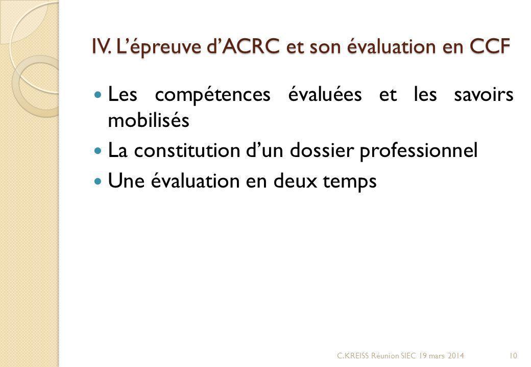 IV. Lépreuve dACRC et son évaluation en CCF Les compétences évaluées et les savoirs mobilisés La constitution dun dossier professionnel Une évaluation