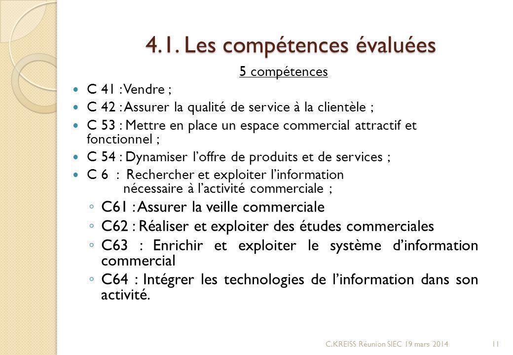 4.1. Les compétences évaluées 5 compétences C 41 : Vendre ; C 42 : Assurer la qualité de service à la clientèle ; C 53 : Mettre en place un espace com