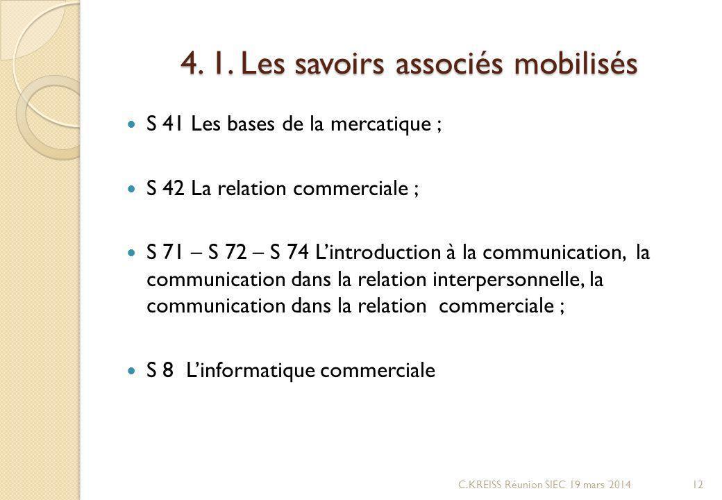 4. 1. Les savoirs associés mobilisés S 41 Les bases de la mercatique ; S 42 La relation commerciale ; S 71 – S 72 – S 74 Lintroduction à la communicat