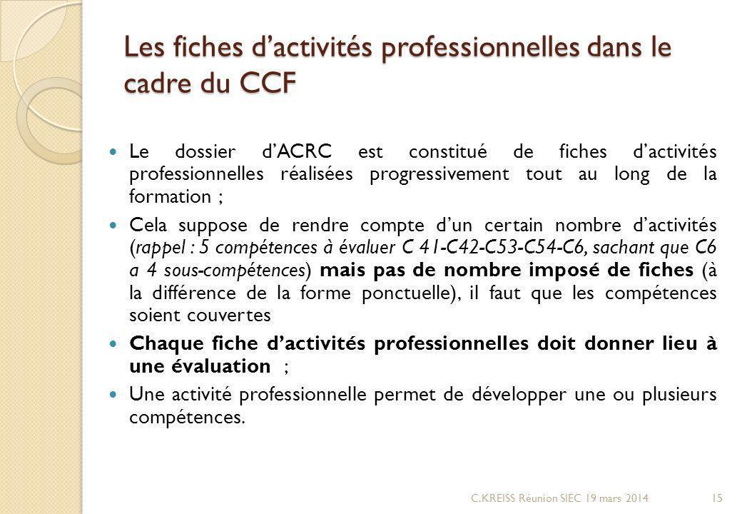 Les fiches dactivités professionnelles dans le cadre du CCF Le dossier dACRC est constitué de fiches dactivités professionnelles réalisées progressivement tout au long de la formation ; Cela suppose de rendre compte dun certain nombre dactivités (rappel : 5 compétences à évaluer C 41-C42-C53-C54-C6, sachant que C6 a 4 sous-compétences) mais pas de nombre imposé de fiches (à la différence de la forme ponctuelle), il faut que les compétences soient couvertes Chaque fiche dactivités professionnelles doit donner lieu à une évaluation ; Une activité professionnelle permet de développer une ou plusieurs compétences.