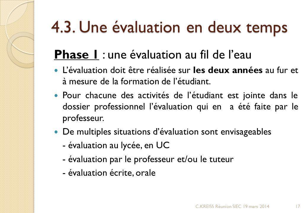 4.3. Une évaluation en deux temps Phase 1 : une évaluation au fil de leau Lévaluation doit être réalisée sur les deux années au fur et à mesure de la