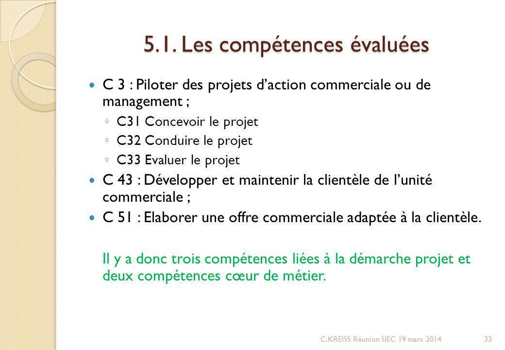 5.1. Les compétences évaluées C 3 : Piloter des projets daction commerciale ou de management ; C31 Concevoir le projet C32 Conduire le projet C33 Eval