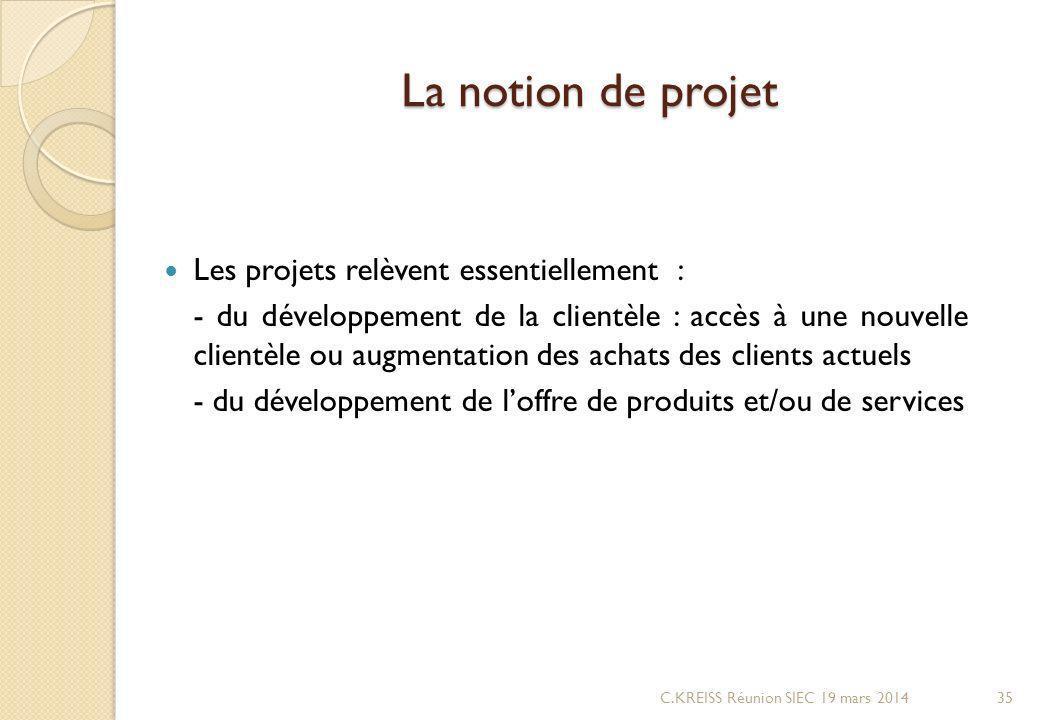 La notion de projet Les projets relèvent essentiellement : - du développement de la clientèle : accès à une nouvelle clientèle ou augmentation des achats des clients actuels - du développement de loffre de produits et/ou de services C.KREISS Réunion SIEC 19 mars 201435
