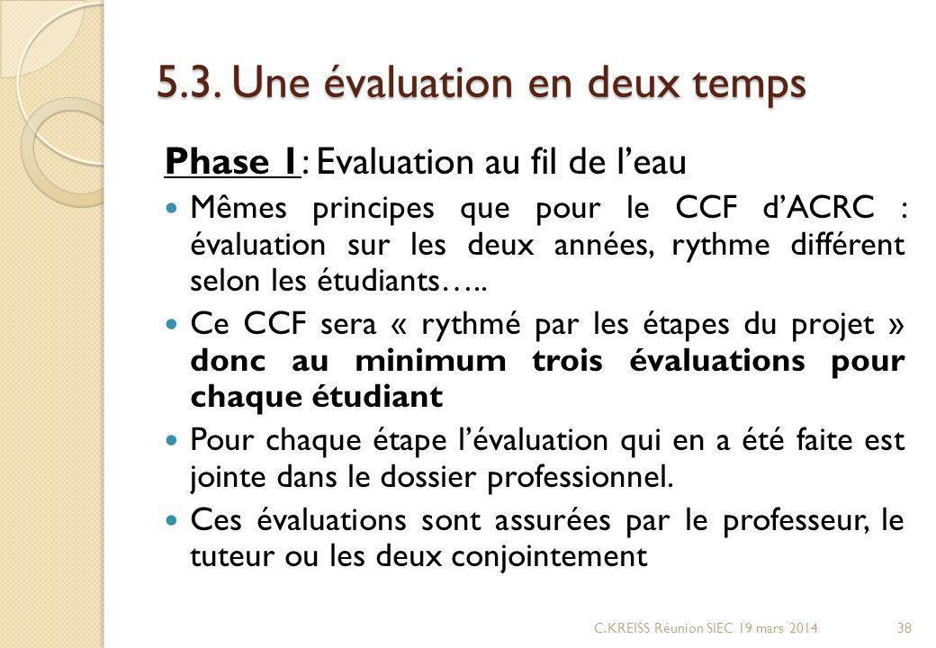 5.3. Une évaluation en deux temps Phase 1: Evaluation au fil de leau Mêmes principes que pour le CCF dACRC : évaluation sur les deux années, rythme di
