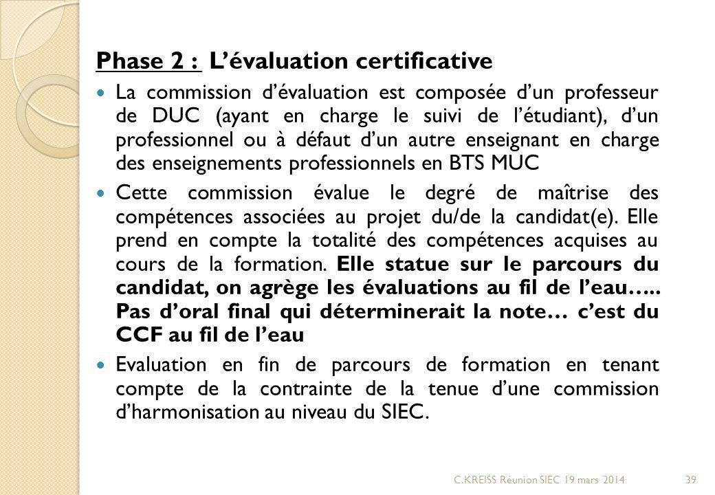 Phase 2 : Lévaluation certificative La commission dévaluation est composée dun professeur de DUC (ayant en charge le suivi de létudiant), dun professionnel ou à défaut dun autre enseignant en charge des enseignements professionnels en BTS MUC Cette commission évalue le degré de maîtrise des compétences associées au projet du/de la candidat(e).