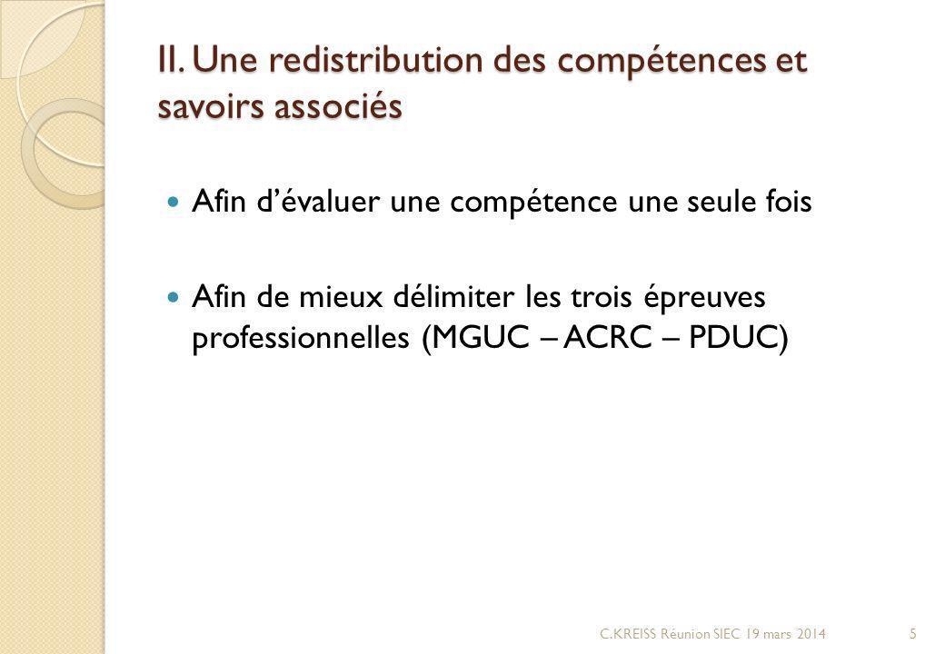II. Une redistribution des compétences et savoirs associés Afin dévaluer une compétence une seule fois Afin de mieux délimiter les trois épreuves prof