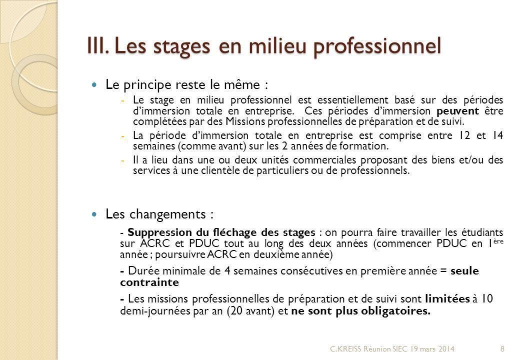 III. Les stages en milieu professionnel Le principe reste le même : -Le stage en milieu professionnel est essentiellement basé sur des périodes dimmer