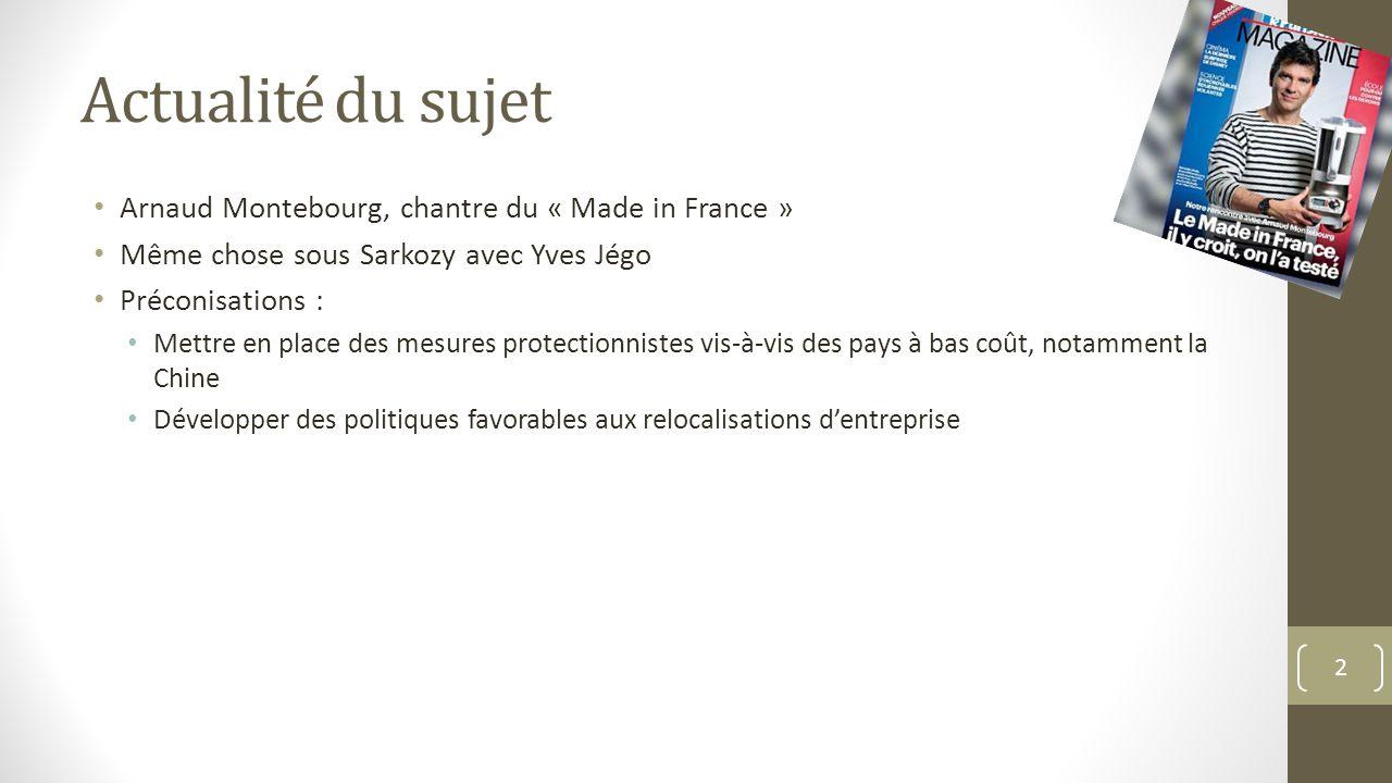 Actualité du sujet Arnaud Montebourg, chantre du « Made in France » Même chose sous Sarkozy avec Yves Jégo Préconisations : Mettre en place des mesure