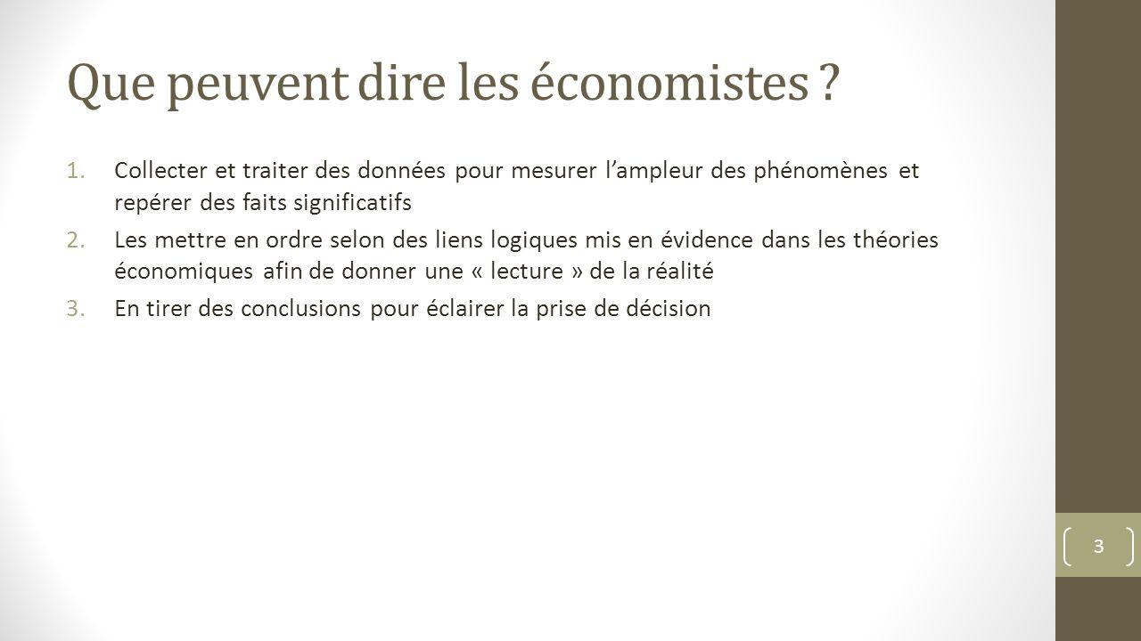 Que peuvent dire les économistes ? 1.Collecter et traiter des données pour mesurer lampleur des phénomènes et repérer des faits significatifs 2.Les me