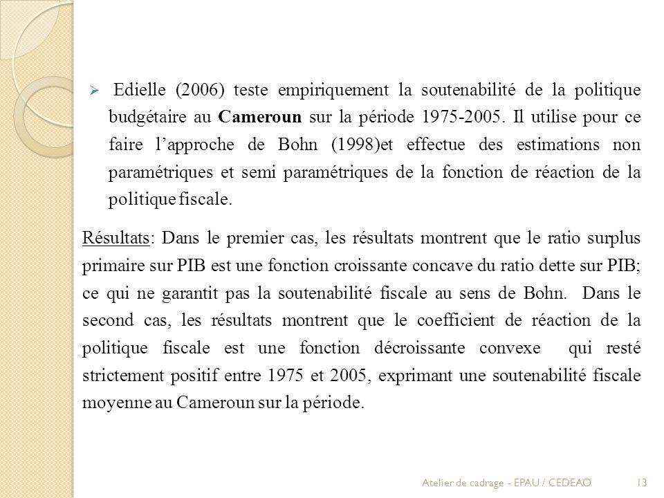 Edielle (2006) teste empiriquement la soutenabilité de la politique budgétaire au Cameroun sur la période 1975-2005. Il utilise pour ce faire lapproch