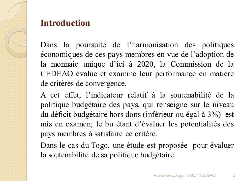 Introduction Dans la poursuite de lharmonisation des politiques économiques de ces pays membres en vue de ladoption de la monnaie unique dici à 2020,